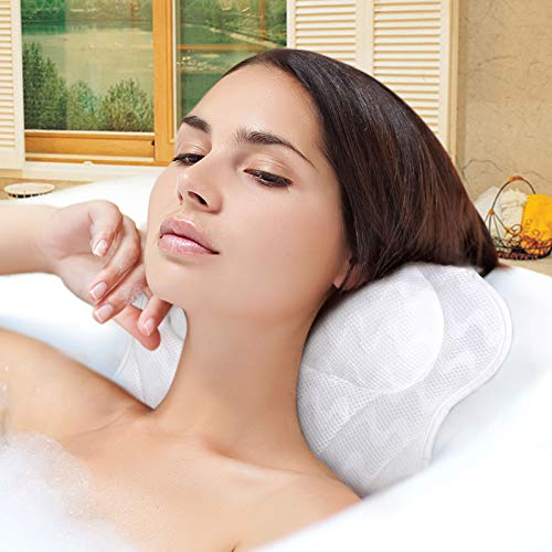 JOBYNA Bath Pillow for Tub, Ergonomic Premium Bathtub Pillow for Head, Neck and Shoulder Support, 3D Air Mesh Spa Hot Tub Pillow with 6 Strong Suction Cups, Soft and Comfortable