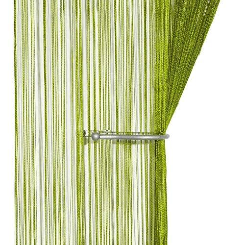 AIZESI Fadenvorhang Grün 90x200 Insektenschutz Türvorhang Trennwand Fenster Vorhang(Grass Green)