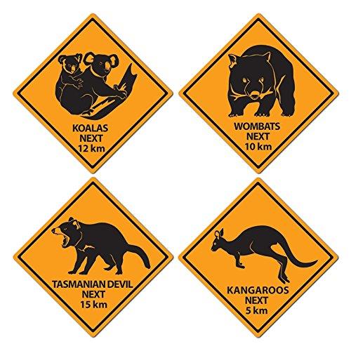 Everflag Motive aus Karton Warnschilder Australien Outback (4Stück)
