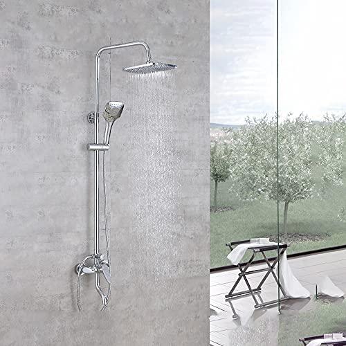 ALYHYB Juego combinado de ducha de baño, mezclador de ducha moderno sistema de ducha con cabezal de ducha de lluvia, ducha de mano de 3 funciones, sistema de ducha expuesta montado en la pared