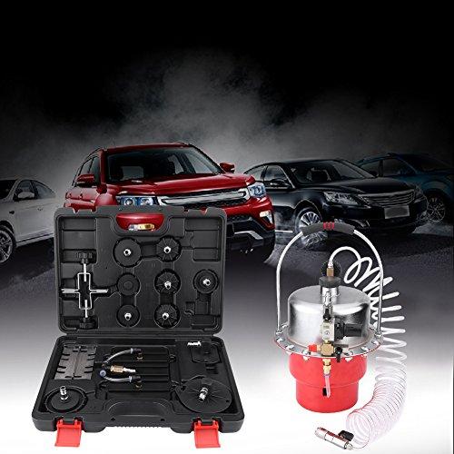 Zerone Kit de Drenaje del Freno, la Presión Neumática Profesional Sangrador de Frenos con Manómetro del Tanque de Baja Presión y el Kit Adaptador para Automoción