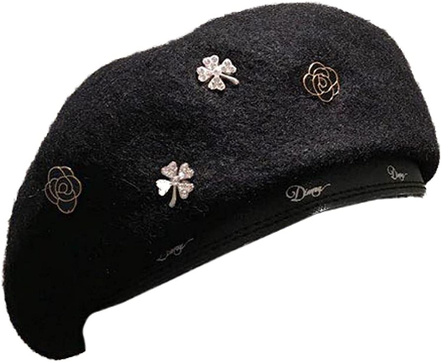 AOBRICON Fashion Berets for Women Camellia Black Female Bonnet Caps Winter All Matched Warm Badge Walking Hat