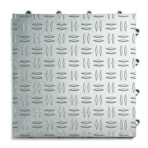 GarageTrac Diamond, Durable Interlocking Modular Garage Flooring Tile (48 Pack), Alloy