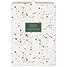 Eono by Amazon - 2021 Wall Calendar, Month-to-View Wall Planner, 12 Monthly Calendar for 2021, 42.2 x 29.7 cm, Monthly Note Section, Twin-Wire Binding, Monthly Stickers, Home Family Planner