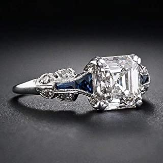 MAIHAO Vintage 2.45ct White Topaz Ring 925 Silver Wedding Engagement Ring Size 6-10 (US Code 6)
