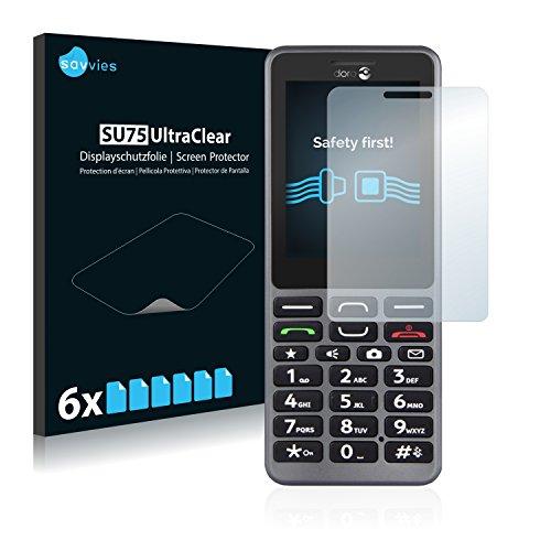 Savvies 6X Schutzfolie kompatibel mit Doro PhoneEasy 509 Bildschirmschutz-Folie Ultra-transparent