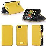 XEPTIO Wiko Kite 4G Tasche Leder Hülle gelb Cover mit Stand - Zubehör Etui Wiko Kite 4G LTE Flip Case Schutzhülle (PU Leder, Handytasche Yellow) Accessories