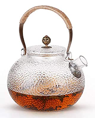 ChicAid Glass Teapot, 40oz (1200ml) Heat Resistant Borosilicate Tea Pot, Stovetop Safe, Blooming and Loose Leaf Tea Maker, Premium Quality Tea Kettle Gift, Included Corkboard Placemats.