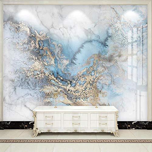 Tapete Wandbild Licht Luxus mikrokristalline Fliese blau Gold Marmor Hintergrund Wanddekoration Malerei,350X256cm
