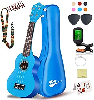 Soprano Ukulele Beginner Pack-21 Inch w/Gig Bag How to Play Songbook Digital Tuner All in One Kit (Blue)