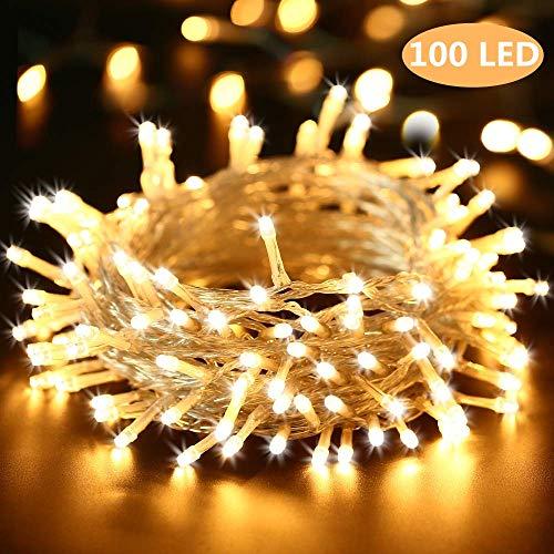 BrizLabs 100 LED Innen Lichterkette Warmweiß 15M Weihnachts Außenbeleuchtung 8 Modi Wasserdicht für Outdoor Weihnachtsbaum Zimmer Garten Party Hochzeit Halloween Deko