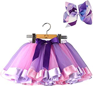 BGFKS Layered Ballet Tulle Rainbow Tutu Skirt for Little Girls Dress Up with Colorful Hair Bows