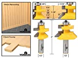 Yonico 15227 Flooring 2 Bit Tongue and Groove Flooring Router Bit Set 1/2-Inch Shank