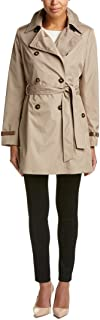 Womens Water Repellent Belted Trench Coat