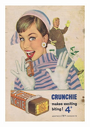 Crunchie Poster Chocolade Bar Foto Vintage Oude Advert Artwork Klassiek Ouderwetse Commerciële
