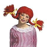 Widmann 6288M – Kinderperücke Wirbelwind, mit biegsamen Zöpfen, rot, Pippi, freches Mädchen, Pippi Kostüm, Motto Party, Karneval