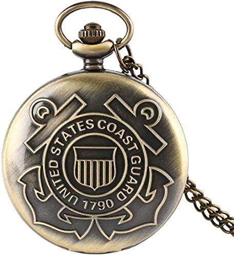 Reloj de Bolsillo Reloj de Bolsillo para Hombre Guardia Costera de los Estados Unidos 1790 Reloj de Bolsillo de Cuarzo de Bronce Vintage Reloj de Bolsillo Enfermera Digital