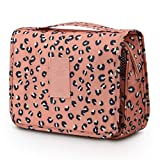 Toiletry Bag for Women,Mossio Waterproof Big Makeup Case with Large Compartment Pink Leopard