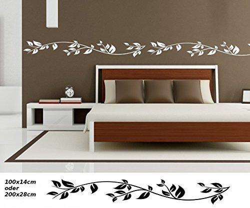 Wandtattoo selbstklebend Bordüre Baum Blätter Herbst Bäume Blumen Ranke Set Banner Wand Aufkleber Wohnzimmer 1U123, Farbe:Azurblau glanz;Länge x Breite:100cm x 14cm