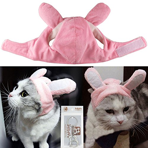 Bolbove Bro'Bear Bunny Rabbit Hat with Ears for Cats & Small Dogs Party Costume Accessory Headwear (Pink Bunny, Small)