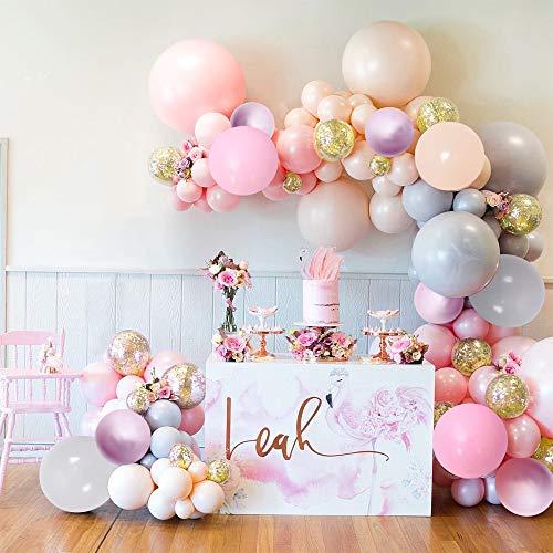 Kit de Guirlande de Ballon,Ensemble Ballons de Décoration de Mariage avec des Ballons en Latex de Confettis d'or,Ballons de fête pour la Fête D'anniversaire de Mariage de Bébé(Jaune)