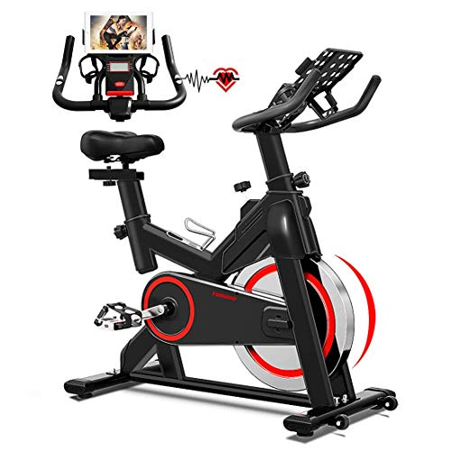 Indoor Cycling Bike Stationary, Belt Drive Indoor Exercise Bike for Home Cardio Gym, with 35 LBS Upgraded Solid Flywheel, LCD Display & Comfortable Seat Cushion
