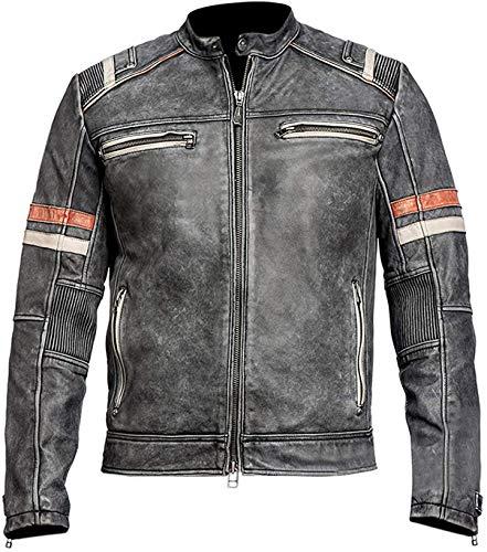 Cafe Racer Retro 02 Jacket Distressed Moto Vintage Black Motorcycle Leather Jacket