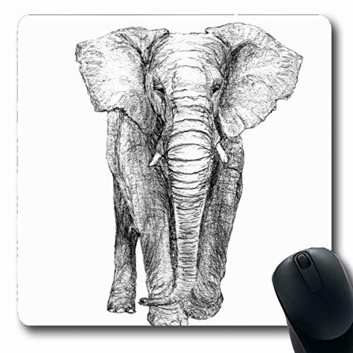 Mouse Pad Grau Weiß Ost Elefant Vorderansicht Graustufen Schwarz Tiere Wildtiere Natur Skizze Bleistift Afrikanisches Mousepad Gummi Langer Computer 25X30Cm Rutschfeste Mausmatte