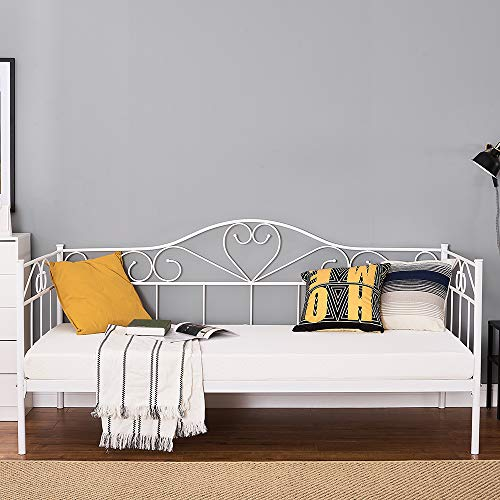 Day Bed Solid Metal Bed Frame 3ft Single Bed Sofa Guest Bed Sustainable Daybed (White, Daybed)