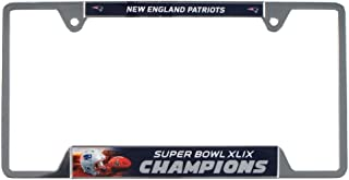 New England Patriots Official NFL 12 inch x 6 inch Super Bowl 49 Champions Metal License Plate Frame by Wincraft