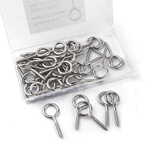 Hamineler 40 Pcs 2 inch 304 Stainless Steel Self Tapping Eye Screws Metal Hook, Wood Terminal Ring Eye Hooks