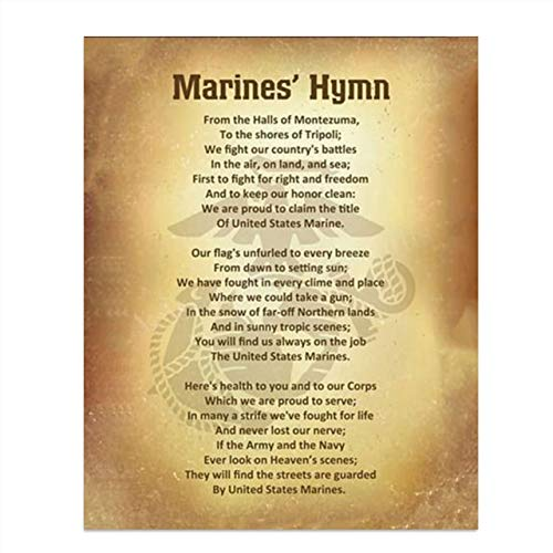 Marine Corps Hymn- Song Wall Art w/Logo Silhouette- 8 x 10' Wall Decor- Ready To Frame- Distressed Parchment Replica Print. Home Decor-Office Decor. Perfect for All Marines & Family.