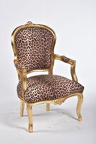 Way Home Store Sillón barroco Luis estilo francés Luigi XVI dorado y tela leopardo 63 x 65 x 94 cm