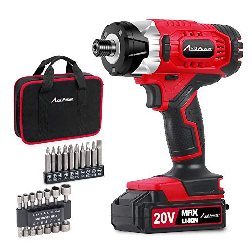 Impact Driver Kit, 1590 in-lbs 20V MAX Cordless 1/4' Hex Impact Drill, Variable Speed, with 14Pcs Sockets, 10Pcs Driver Bits and Tool Bag, Avid Power