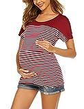 Unibelle – Camiseta de lactancia, con función de lactancia, manga corta, para embarazadas C_Weinrot L