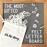 Gray Felt Letter Board, 10x10 inches Changeable Letter Board + 300 White Plastic Letters, Warm Oak...