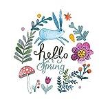 Goldkindzauber DIY Aufbuegler Patch Sticker Applikation Hase Häschen Hello Spring Hallo Frühling Pilz Blumen Flowers Niedlich Aufnaeher Kleidung Patches Zum Aufbügeln