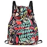 Sport Swimming Yoga Drawstring Backpack - Horsky Anime Leaf Shoulder School Bag Lightweight for Students Teens Boy Girl Travel Camping 35 L (Red Leaf)