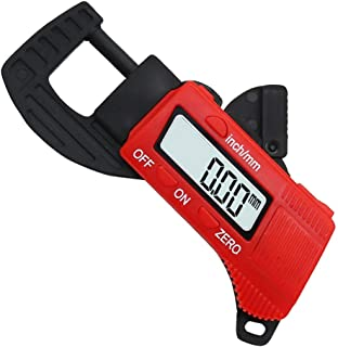 Hymnorq Mini Portable High-Resolution Carbon Fiber Composite Digital Thickness Gauge to Display Thickness in Decimal Inches or Millimeters on Large 8mm LCD Ranging from 0.01 mm/inch to 12.7mm/0.5""
