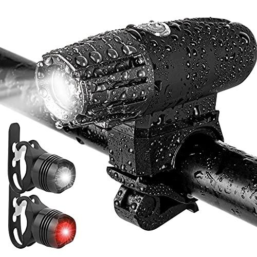 Luz Bicicleta LED Recargable USB, Linterna Bicicleta Impermeable con Luces Bicicleta Delantera y Trasera, Luz LED Bicicleta con 4 Modos, para Ciclismo Carretera y Montaña para la Noche