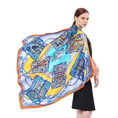 Dhmm123 Bufandas cálidas La Bufanda de Seda del Abrigo de la Bufanda de Las Mujeres con la Bufanda Fina Suave Impresa Bordada del mantón Largo (Color : Multi-Colored, Size : One Size)