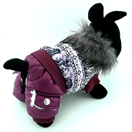 PEGASUS SELMAI Puppy Snowsuit Dog Jumpsuit Birthday Outfits Fleece Lined Dog Coat Winter Jacket Small Dog Clothes Pattern Purple M