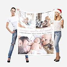 Manta Personalizada con Foto Texto - Regalos Personalizados con Foto - Manta de Lana Personalizada - Regalos para Adultos, niños, bebés y Mascotas - Regalos de Mantas de Navidad