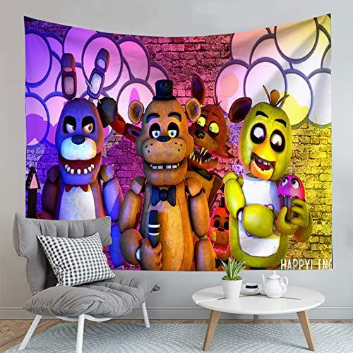 Five Ni-ghts at Fre-ddy FNAF Tapisserie, bunte Kunst, Wandbehang, Poster für Schlafzimmer, Wohnzimmer und Wohnheim, Dekoration