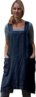 Women Plus Size Overall Pinafore Dress, Cotton Linen Casual Bib Pinafore Apron Garden Work Dresses Square Cross Apron Dres...