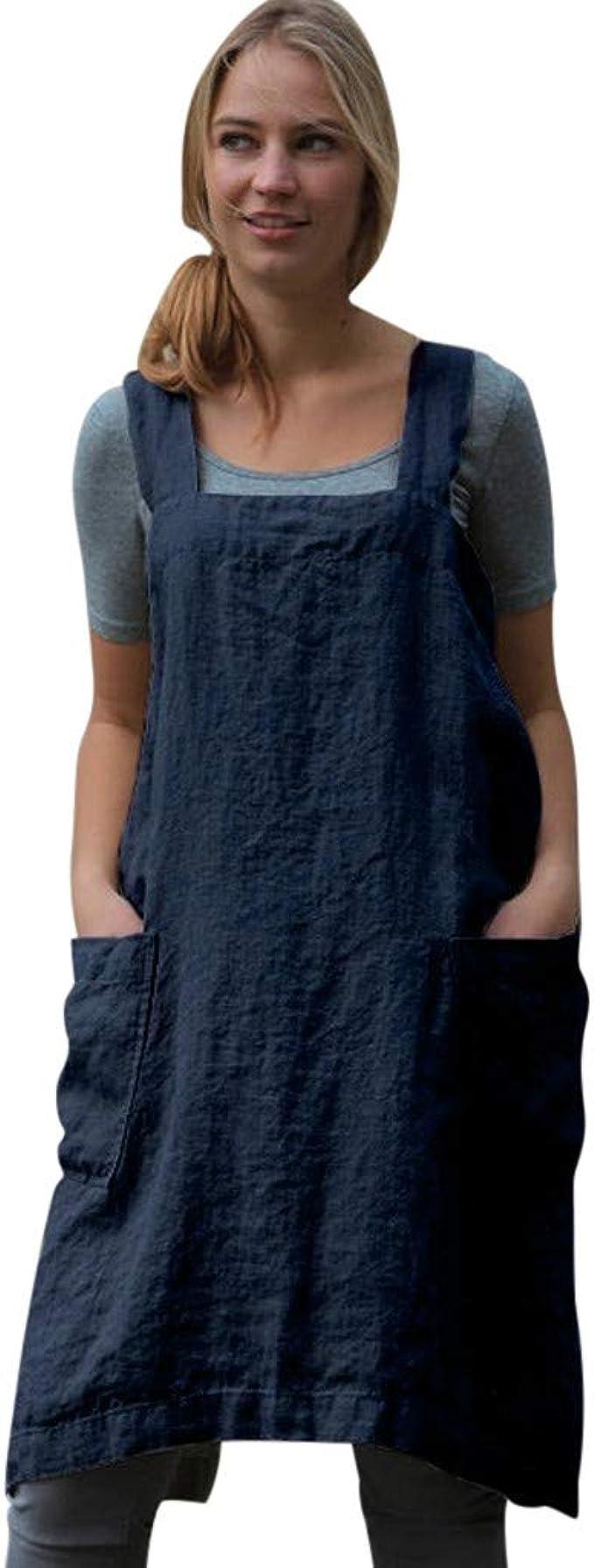 Goosuny Damen Tragerkleid Baumwolle Leinen Kurze Kleider Armellos Loose Ruckenfreies Minikleid Sommerkleider Knielang Frauen Pinafore Kleid Kurze Damenkleider Mit Taschen Amazon De Bekleidung