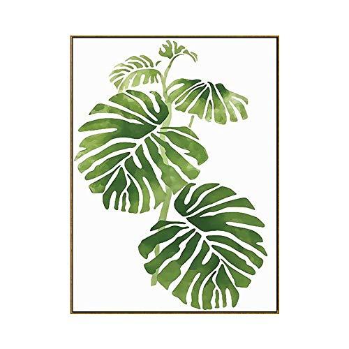 ZTBXQ Décorations Quotidiennes Salon Peinture décorative Peinture Nordique Moderne Minimaliste Vert Plante Feuilles Rural Petit Frais Mur Art Peinture HD Plante Maison Chambre Murale