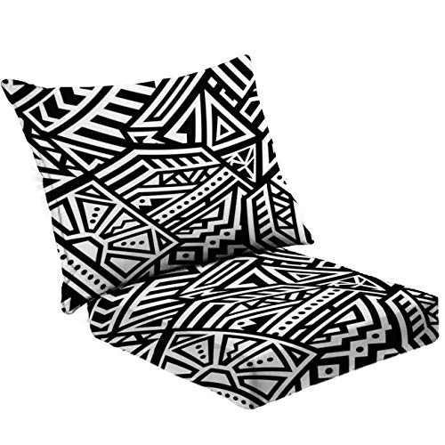 MVEMOEMCA Abstract Vector Seamless Pattern in Ethnic Style Stock Illustration Deep Seat Cushion Set Plush Surface Backrest and Seat Cushion Outdoor Indoor Furniture Replacement Cushions