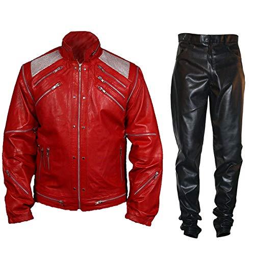 Fashion_First MJ Fancy Red Beat It Biker - Chaqueta de piel para hombre
