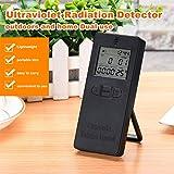 Detector de radiación digital ultravioleta Medidor UV Medidor probador de dosímetro UVI Medidor con pantalla de temperatura (Color: negro)